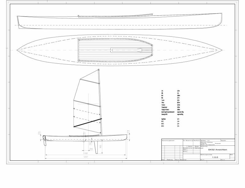 SK-52 Draufsicht und Segelplan